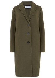 HARRIS WHARF Overcoat Polaire Coat - Moss Green