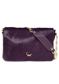 Sous Les Paves Gin Fizz Cowhide Leather Crocodile Shoulder Bag - Prune