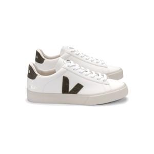 Campo Leather Trainers - Extra White & Kaki