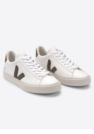VEJA Campo Leather Trainers - Extra White & Kaki
