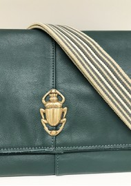 Sous Les Paves Spritz Fold Over Scarab Bug Leather Bag - Sapin & Gold