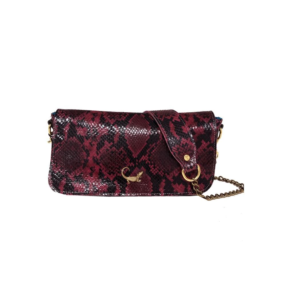 Mai Tai Crocodile Python Leather Bag - Red