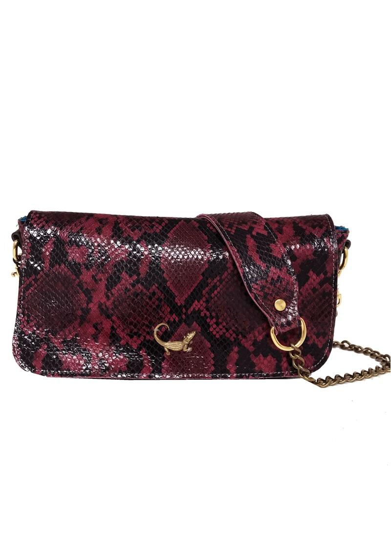 Sous Les Paves Mai Tai Crocodile Python Leather Bag - Red main image