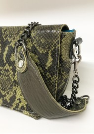Sous Les Paves Mai Tai Cobra Python Leather Bag - Green
