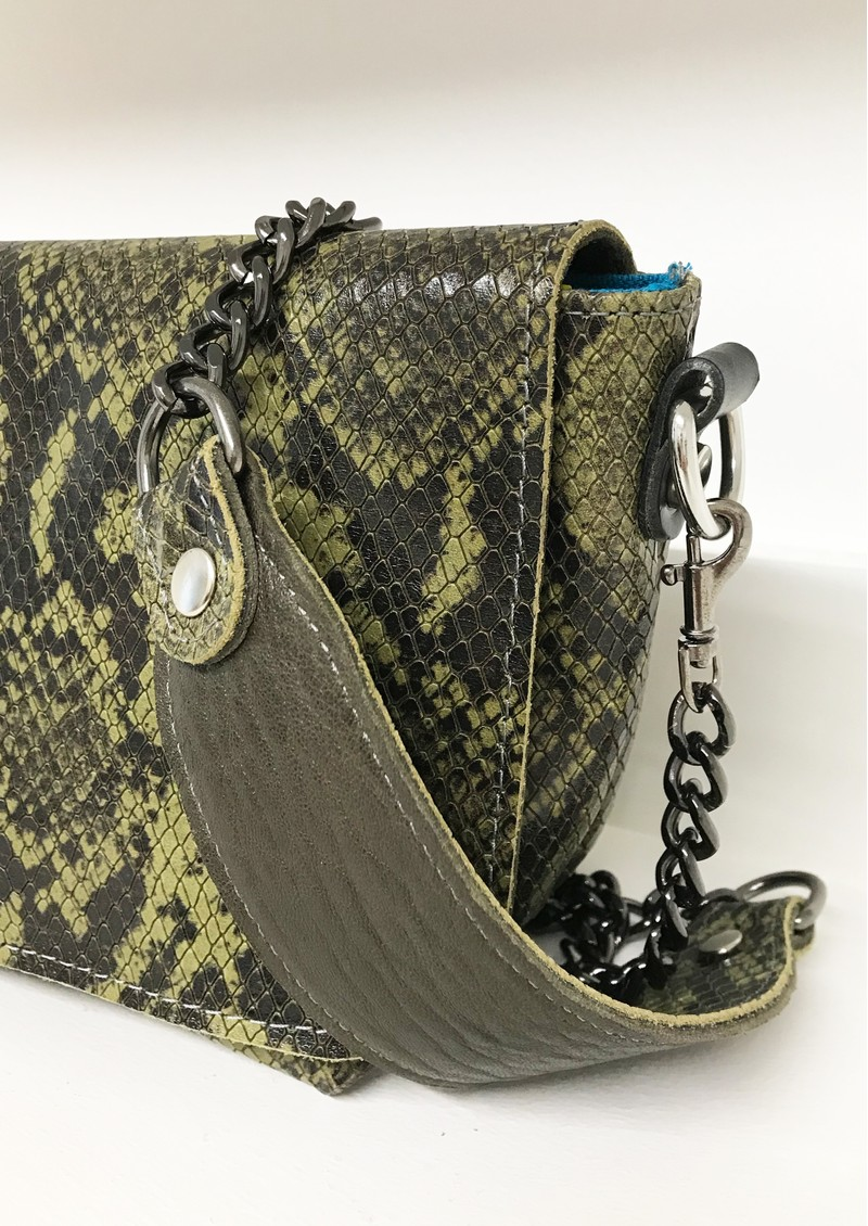 Sous Les Paves Mai Tai Cobra Python Leather Bag - Green main image
