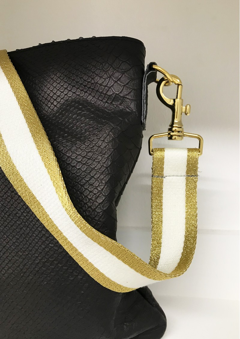 Sous Les Paves Big Zaza Ostrich Leather Bag - Cobra Black & Gold main image