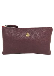 Sous Les Paves Tsutsuki Gold Bee Leather Clutch - Red