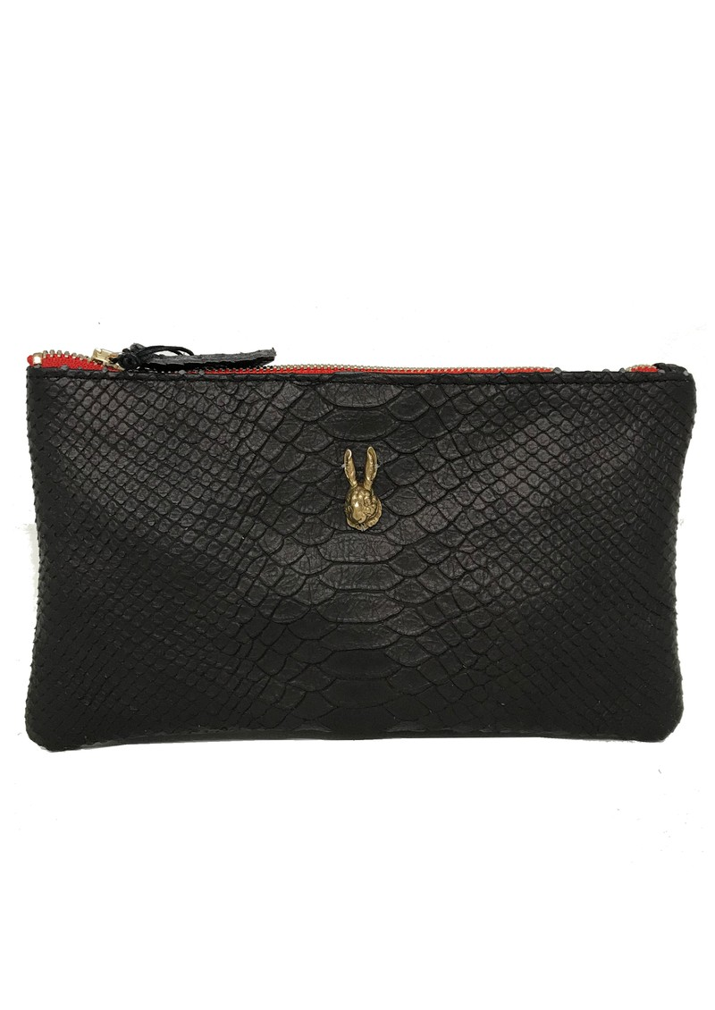 Tsutsuki Gold Bunny Leather Clutch - Black main image