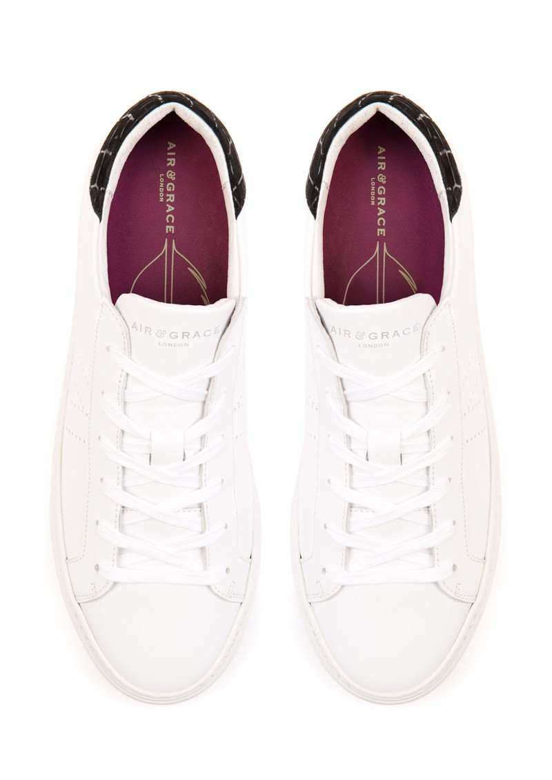 AIR & GRACE Roxy Trainers - White & Black main image