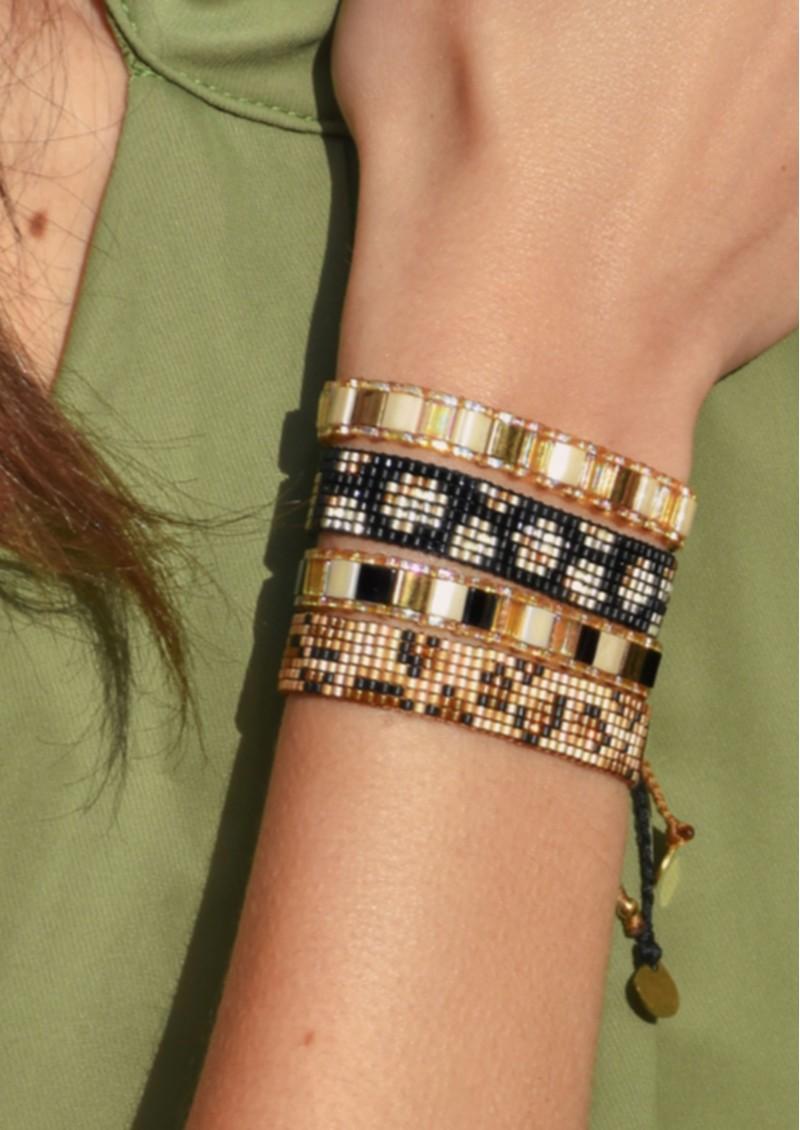 MISHKY Panthera Beaded Bracelet - Gold & Blue main image