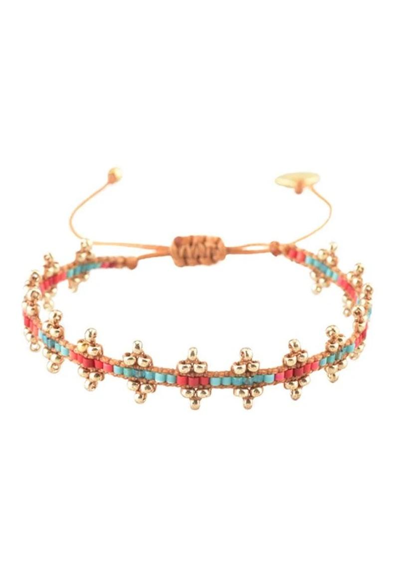MISHKY Shanty Beaded Bracelet - Red & Turquoise main image