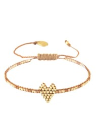 MISHKY Heartsy Row Beaded Bracelet - Gold