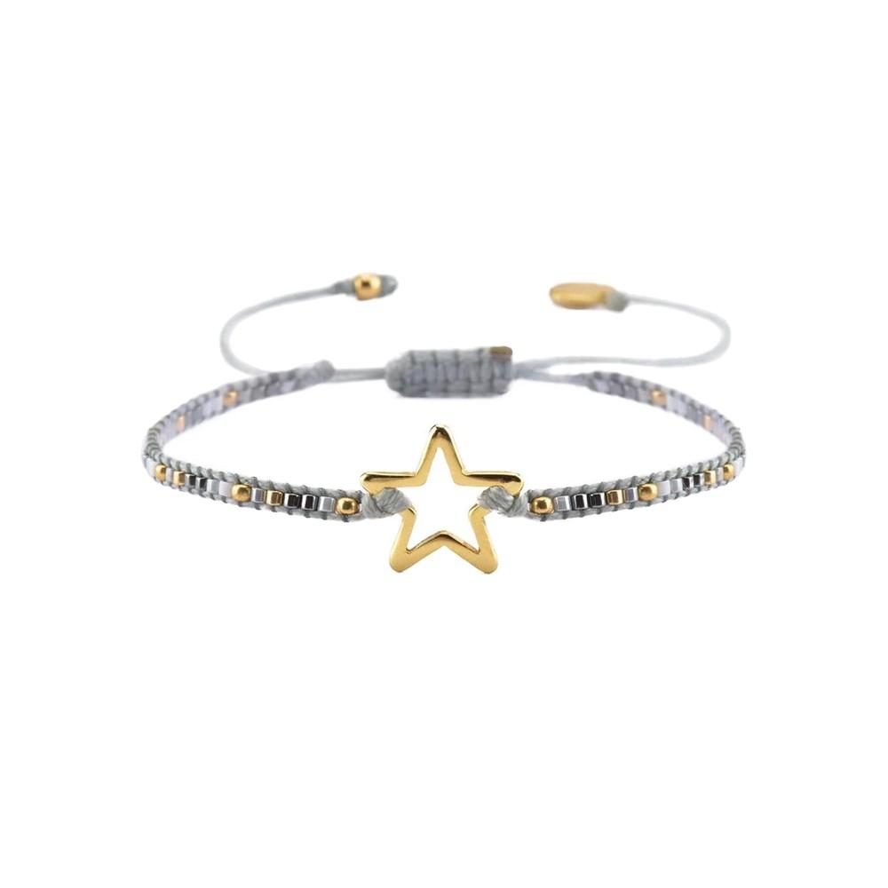 Melted Star Beaded Bracelet - Grey