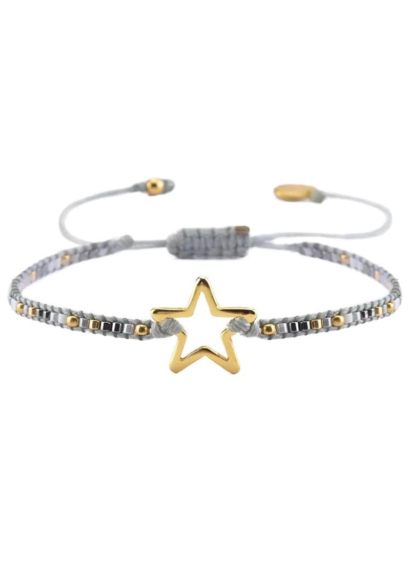 MISHKY Melted Star Beaded Bracelet - Grey main image