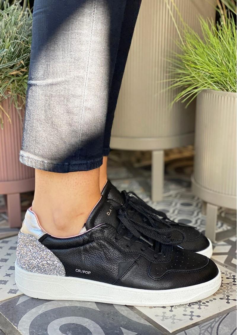 D.A.T.E Court Low Top Leather Trainers - Pop Black main image