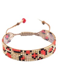 MISHKY Panthera Beaded Bracelet - Gold & Red