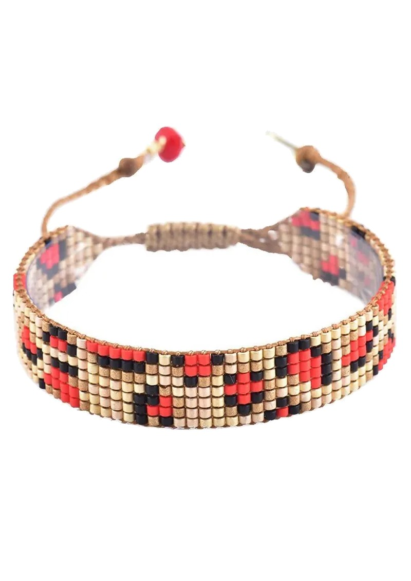 MISHKY Panthera Beaded Bracelet - Gold & Red main image