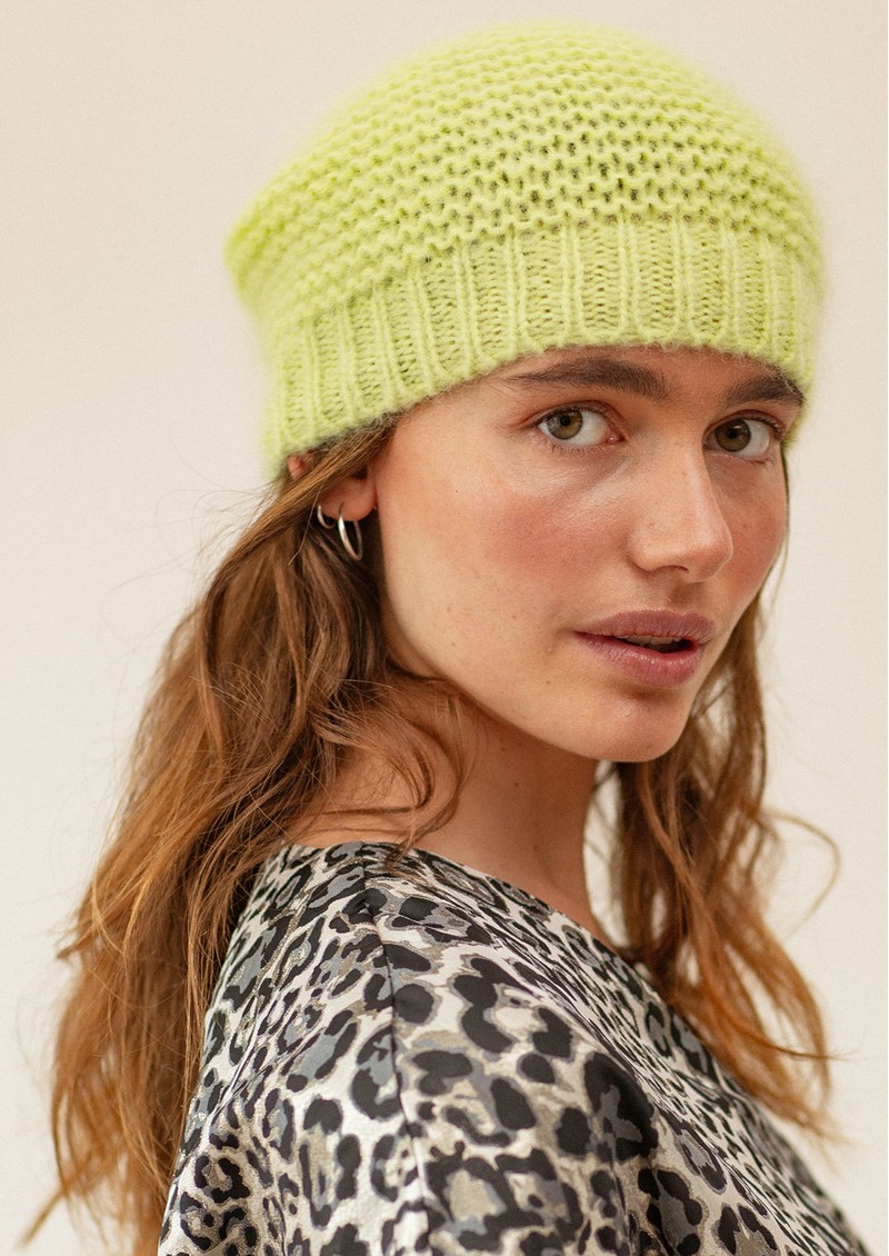 Jade Wool Mix Beanie Hat - Sunny Lime main image