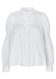 LEVETE ROOM Isla Solid 15 Cotton Mix Blouse - White