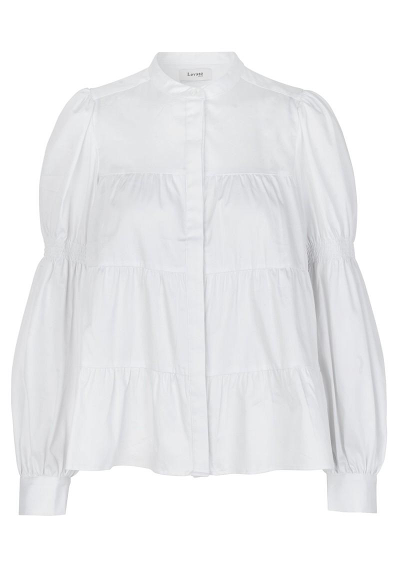 LEVETE ROOM Isla Solid 15 Cotton Mix Blouse - White main image