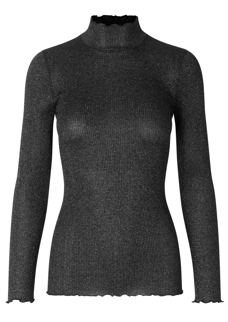 Bliss Lurex Polo Neck Top - Black main image