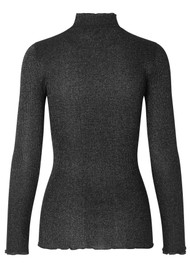 Rosemunde Bliss Lurex Polo Neck Top - Black