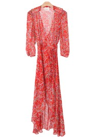BERENICE Sonia Printed Wrap Dress - Red Palace