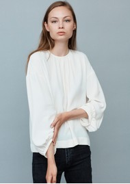 MAYLA Bay Draped Blouse - Creme