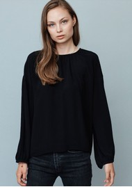 MAYLA Bay Draped Blouse - Black
