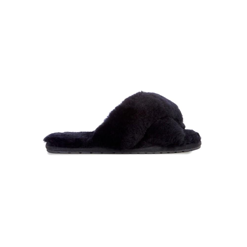 Mayberry Crossover Sheepskin Slipper Slide - Black