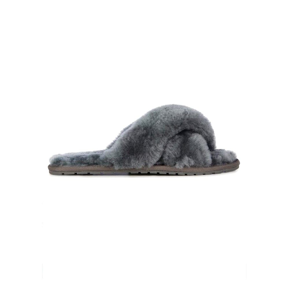 Mayberry Crossover Sheepskin Slipper Slide - Charcoal