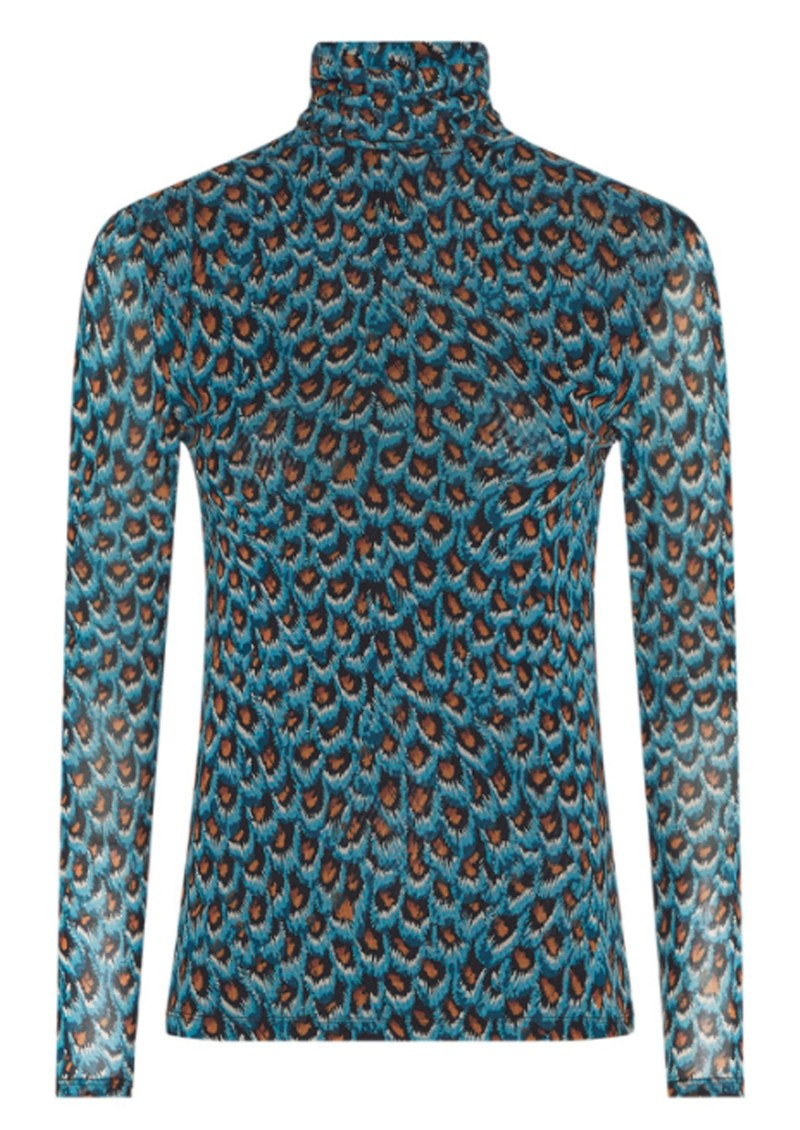 Jane Mesh Top - Peacock Party Blue main image