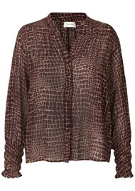 LEVETE ROOM Kira 4 Blouse - Brown Croc
