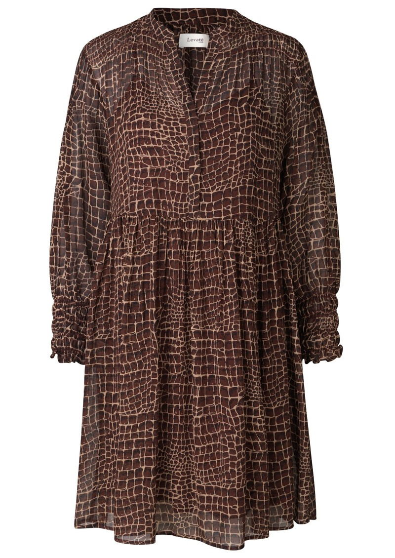 LEVETE ROOM Kira 3 Dress - Brown Croc main image