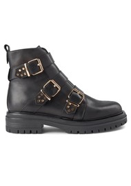SHOE THE BEAR Franka Strappy Leather Boot - Black