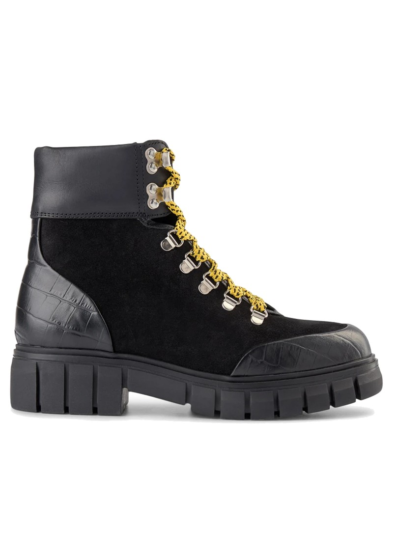 SHOE THE BEAR Rebel Hiker Croc Leather Lace Up Boot - Black & Yellow main image