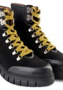 Rebel Hiker Croc Leather Lace Up Boot - Black & Yellow additional image