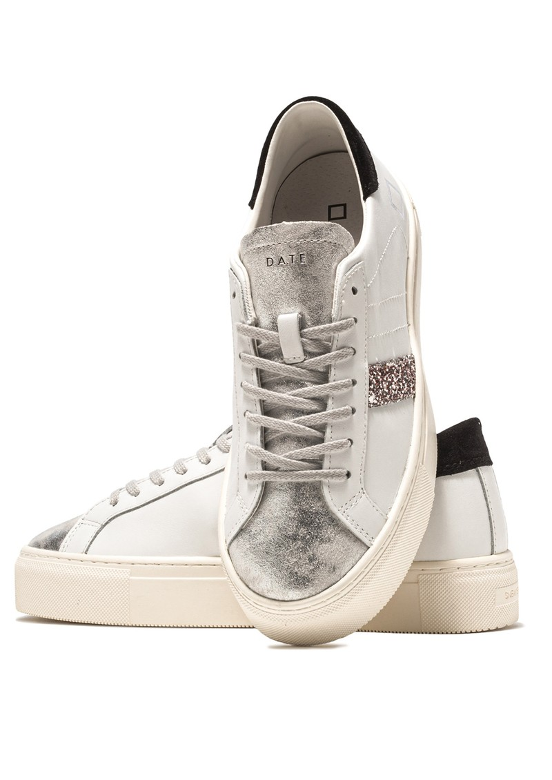 D.A.T.E Vertigo Leather Low Top Trainers - White & Black main image