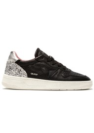 D.A.T.E Court Low Top Leather Trainers - Pop Black