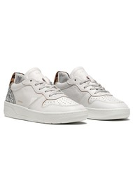 D.A.T.E Court Low Top Leopard Leather Trainers - Pop White