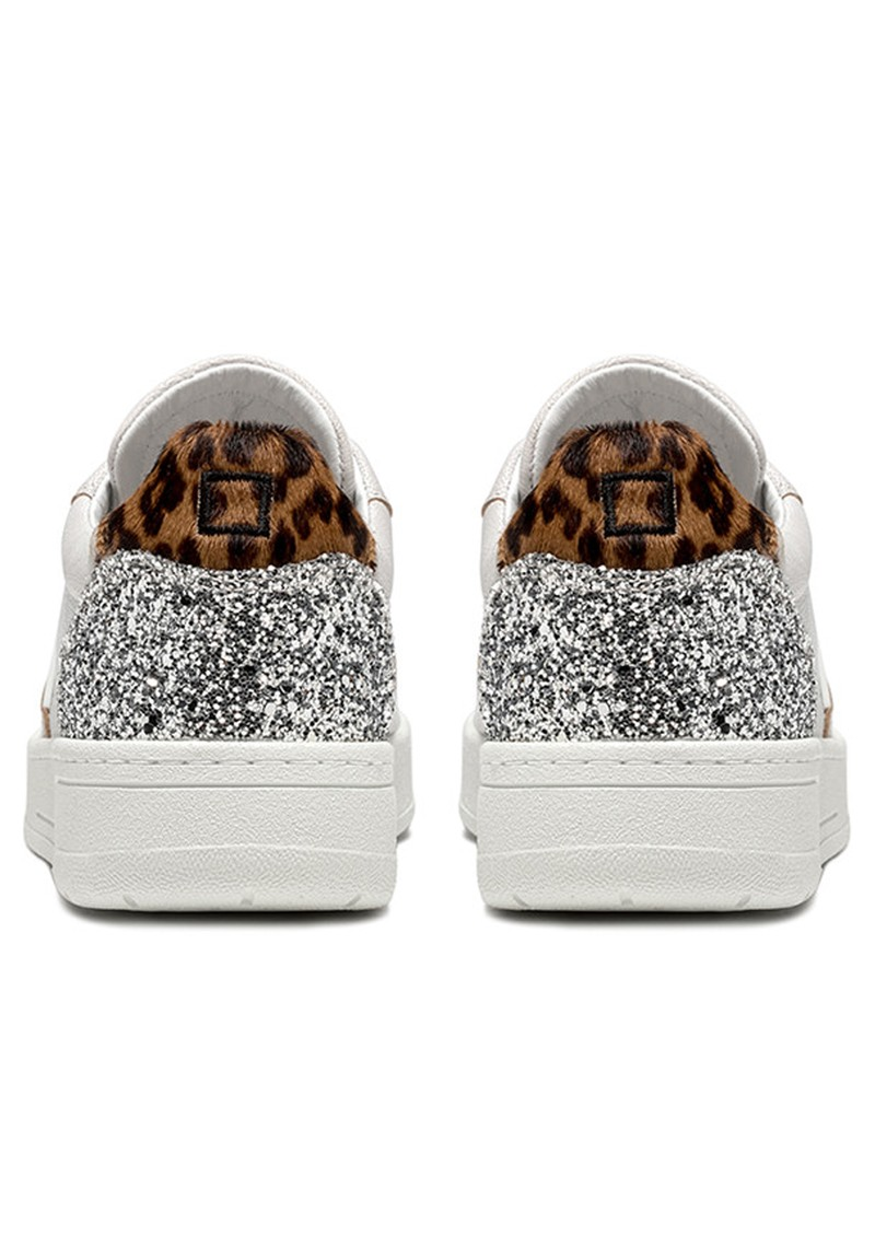 D.A.T.E Court Low Top Leopard Leather Trainers - Pop White main image