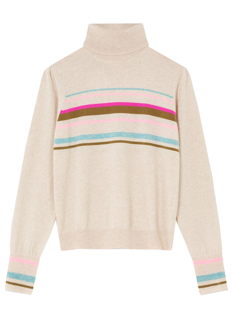 Vienna Cashmere Roll Neck Jumper - Oatmeal main image