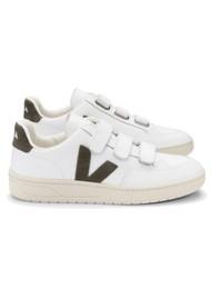 VEJA V- Lock Leather Trainers - Extra White & Kaki