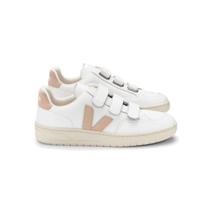 V- Lock Leather Trainers - Extra White & Sable