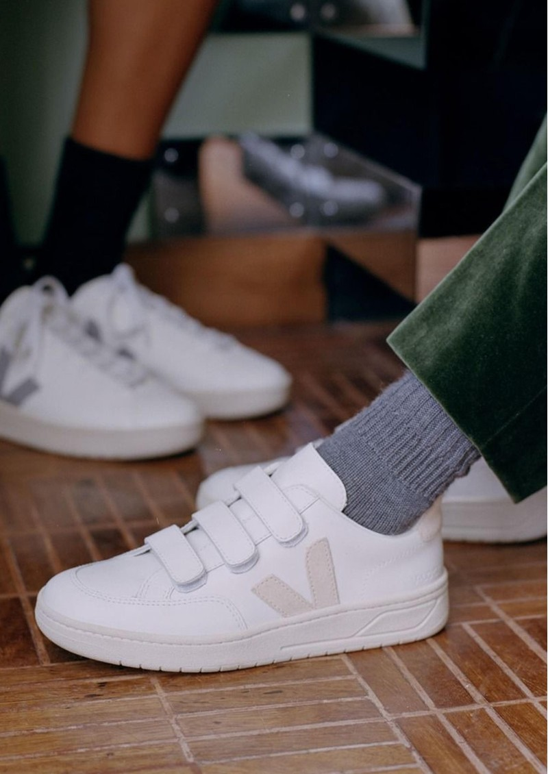 VEJA V- Lock Leather Trainers - Extra White & Sable main image