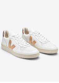 VEJA V-10 Leather Trainers - Extra White & Venus