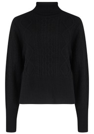 JUMPER 1234 Aran Roll Collar Cashmere Jumper - Black