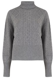 JUMPER 1234 Aran Roll Collar Cashmere Jumper - Grey
