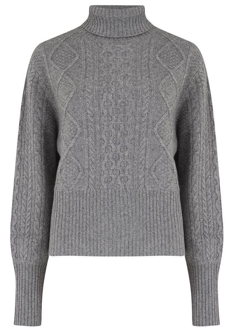 JUMPER 1234 Aran Roll Collar Cashmere Jumper - Grey main image