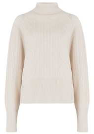 JUMPER 1234 Aran Roll Collar Cashmere Jumper - Org White
